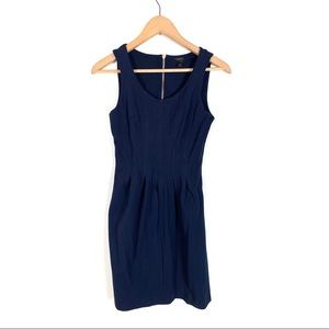 J Crew Pleated Flare Dress Size 0 Navy Blue A5434